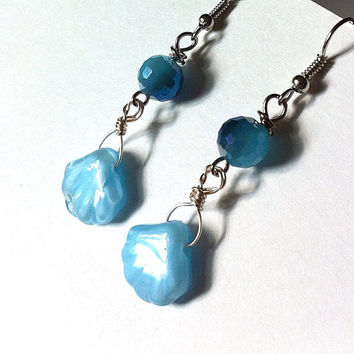 Blue glass shell earrings, shell earrings, blue earrings, beach earrings, seashell earrings, light blue earrings, summer jewelry,
