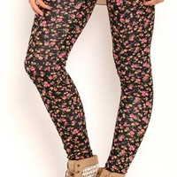 Leggings with Small Floral Print