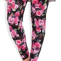 Plus Size Leggings with Large Floral Print
