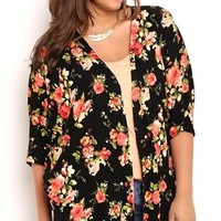 Plus Size Floral Print Kimono with Elbow Length Sleeves