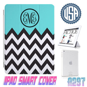 USA Custom Monogram Chevron  @ IPad Air Smart Cover , IPad Mini Smart Cover  , IPad 4 Case , IPad 3 2 IPhone 5 Magnetic Sleep Wake Case #297