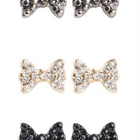 Set of 3 Stone Bow Stud Earrings