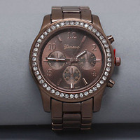 Chocolate luxury platinum crystal Watch