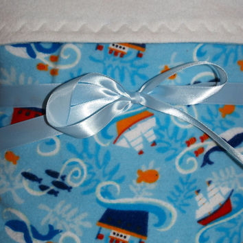 Baby nautical blanket reversible flannel