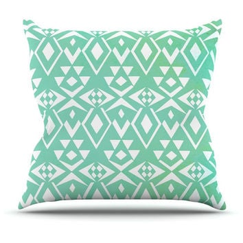 Ancient Tribe Mint Throw Pillow for your home decor