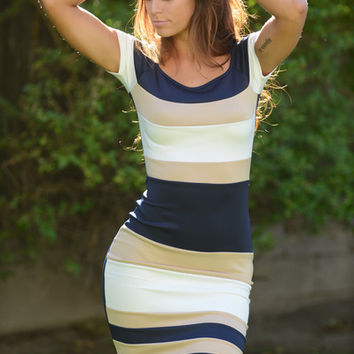 Techno Colorblock Midi Dress - Navy