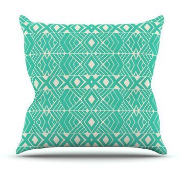 Going Tribal Mint/Turquoise Throw Pillow for your home decor