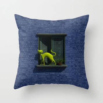 The Yellow Cat - Window - Throw Pillow by THE-LEMON-WATCH | Society6