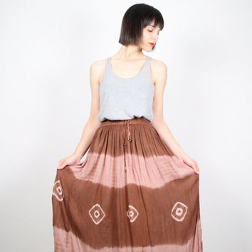 Vintage 90s Midi Skirt Brown Tan Maxi Skirt Tie Dye kirt Gauze Rayon Gauzy Boho Hippie Skirt Festival Skirt Peasant Skirt S M medium L Large