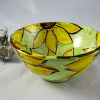 Small Ceramic Serving Bowl Yellow Sunflowers on Lime Green Pottery Majolica