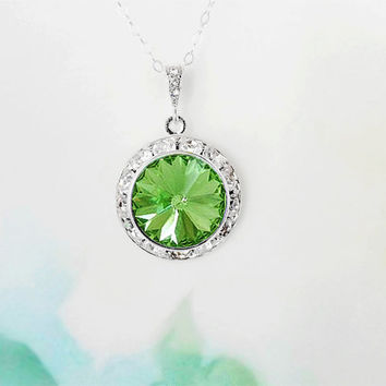 SALE - Peridot Necklace Green Crystal Necklace August Birthstone Gift Idea Woman Necklace Pendant Necklace Mother Gift