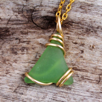 Sea Glass Necklace - Green Seaglass Jewelry from Hawaii - Wire Wrap Sea Glass Jewelry - Sea Gypsy Necklace - Bohemian Beach Boho Jewelry