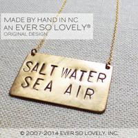 salt water sea air - handmade gold statement necklace - beach wedding