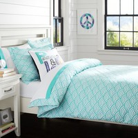 Quincy Scallop Duvet Cover + Sham, Pool