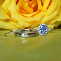 3 rings engagement/wedding set diamonds ceylon by EidelPrecious