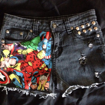 Marvel Studded frayed AVENGERS super hero shorts