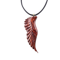Angel Wing Necklace, Men's Necklace, Angel Wing Pendant, Mens Wing Pendant, Wood Wing Pendant, Hand Carved Wing Pendant, Men's Wood Pendant