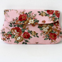Pink Clutch, Shabby chic rose clutch, rustic wedding clutch, bridesmaid gift, bridesmaid clutch