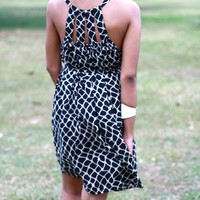 Casual little black dress, animal print dress, cocktail summer dress, rayon dress, women's mini dress