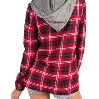 DETACHABLE HOOD PLAID BUTTON UP SHIRT