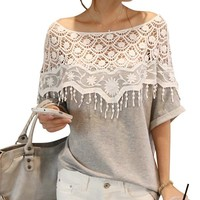 Keral Shirt Women Handmade Crochet Cape Collar Batwing Sleeve Blouse T Shirt