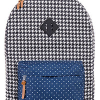 The Heritage Backpack in Houndstooth and Navy Polka Dot