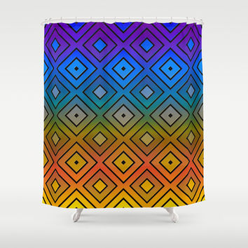 Colorful Diamond Print Shower Curtain by KCavender Designs