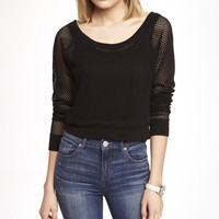 LONG SLEEVE CROPPED MESH TEE