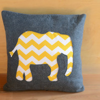 Wool Felt Throw Pillow Cover Grey & Yellow Chevron by elefino
