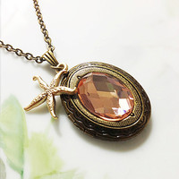 Champagne Peach and Golden Starfish Necklace Photo Locket Necklace Beach Wedding Bridesmaid Necklace Prom Plus Size Jewelry