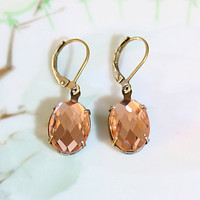 Peach Earrings Champagne Peach Crystal Rhinestone Dangle Earrings Prom Wedding