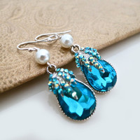 Blue Crystal Earrings - Rhinestone Pearl Earrings - Wedding Jewelry Earrings - Bridal Earrings - Bridesmaid Gift