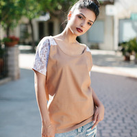 Womens Camel Lace Blouse Top Shirt Lamixx Limited Edition