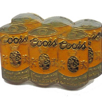 vintage COORS SiX PaCK BEER can pin lapel cloisonne