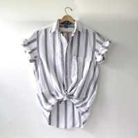 vintage white striped shirt. short sleeve shirt. pocket t shirt.