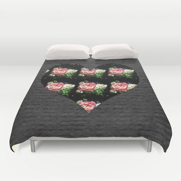 Simple Heart Floral Duvet Cover by DuckyB (Brandi)