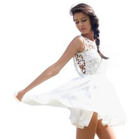 Lookbookstore Summer White Crochet Plunge Sexy Cotton Women's Backless Dress