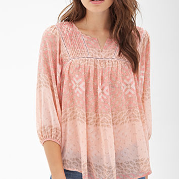Pintucked Tribal Print Top