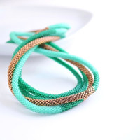 Skinny Rope Necklace, Emerald Green Necklace, Mint Green Beaded Rope, Layering Necklace, Color Block Extra Long, Seafoam Green Bronze Brass