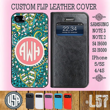 Monogram Flip Leather Cover @ Samsung Galaxy S4 case , Galaxy S3 , Samsung Note 3 Galaxy Note 2 , IPhone 5 case , 5S , IPhone 4 4S Cover L64