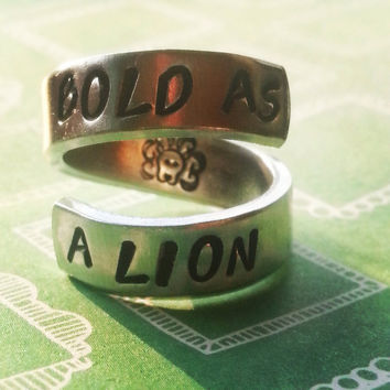 Proverbs 28:1 /bold as a lion / spiral hand stamped aluminum ring lions faceinside