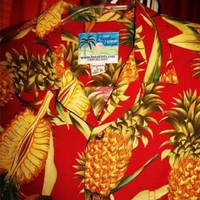 PARADISE ON A HANGER HAWAIIAN SHIRT VINTAGE 100% COTTON !SIZE L!MADE IN HAWAII
