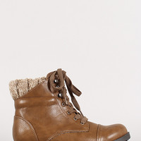 Qupid Wyatte-05X Sweater Cuff Lace Up Round Toe Bootie