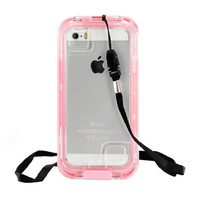 CellBee® [Capture Armor Plus] Universal Waterproof Heavy Duty Crystal Case with Strap for Iphone 5/5S/5C (Pink)