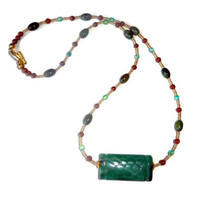 Jade Floral and Brown Beaded Necklace