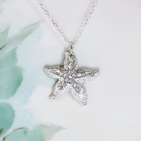 Starfish Necklace Crystal Rhinestone Studded Starfish Necklace Sea Star Necklace Birthday Gift Idea Summer Beach Wedding Bridal Gift