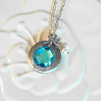 Aquamarine Necklace Blue Crystal Rhinestone Pearl and Dragonfly Locket Art Deco Jewelry March Birthstone Wedding Prom Plus-Size Jewelry