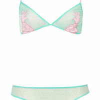TRIANGLE CUP PINEAPPLE BRA AND MINI KNICKERS