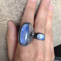 Rainbow Moonstone Ring // Sterling Silver // Rose Cut oval shaped