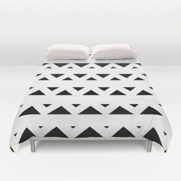 Tribal Triangles Black & White Duvet Cover by BeautifulHomes | Society6
